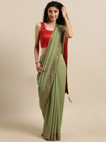 Vastranand | VASTRANAND  Olive Green Solid Silk Saree With Embellished Border