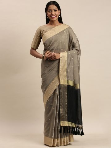 Vastranand   VASTRANAND Cream-Coloured & Gold-Toned Silk Blend Woven Design Banarasi Saree