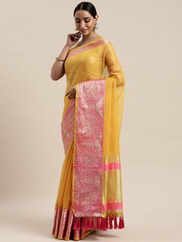 Vastranand | VASTRANAND Yellow & Pink Net Solid Kota Saree