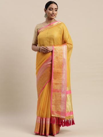 Vastranand | VASTRANAND Yellow Net Checked Kota Saree
