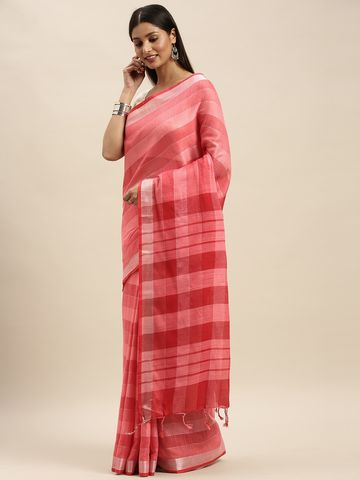Vastranand | VASTRANAND Pink Striped Linen Blend Saree