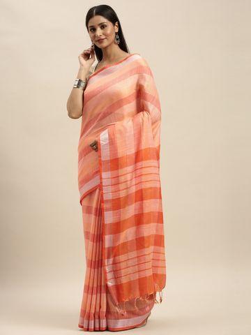 Vastranand | VASTRANAND Orange Striped Linen Blend Saree