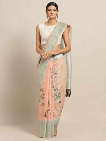 Vastranand | VASTRANAND Pink & Beige Cotton Blend Printed Saree