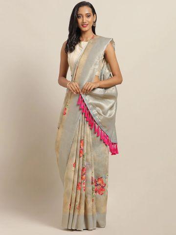 Vastranand | VASTRANAND Beige & Grey Cotton Blend Woven Design Kanjeevaram Saree