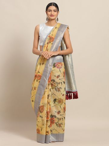 Vastranand | VASTRANAND Yellow Cotton Blend Floral Printed Kanjeevaram Saree