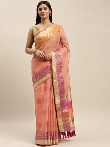 Vastranand   VASTRANAND Pink Net Woven Design Kota Saree