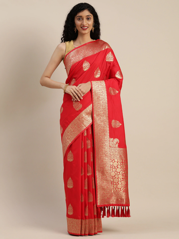 Vastranand | VASTRANAND  Red Silk Blend Woven Design Banarasi Saree