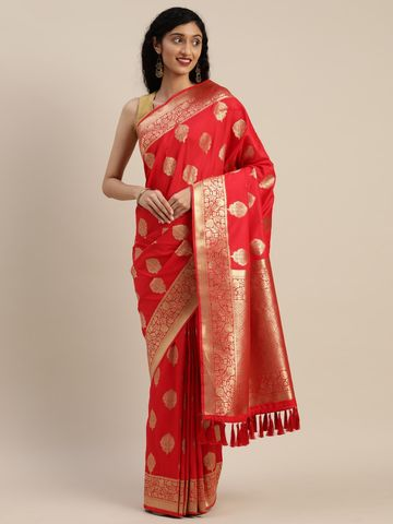 Vastranand | VASTRANAND  Red & Golden Silk Blend Woven Design Banarasi Saree