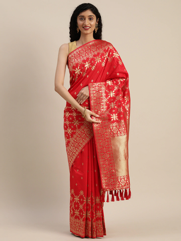 Vastranand | VASTRANAND  Red & Gold-Toned Silk Blend Woven Design Banarasi Saree