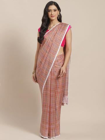 Vastranand | VASTRANAND  Beige & Pink Pure Silk Checked Celebrity Saree