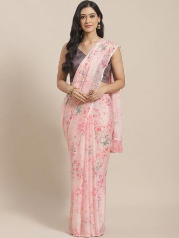 Vastranand | VASTRANAND  Pink & Red Pure Silk Printed Celebrity Saree