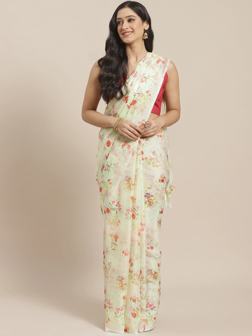 Vastranand | VASTRANAND  Off-White & Red Pure Silk Printed Celebrity Saree