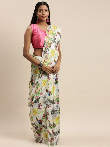 Vastranand | VASTRANAND White & Black Pure Silk Floral Printed Saree