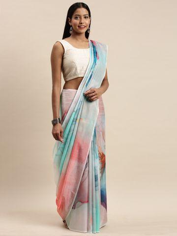 Vastranand | VASTRANAND Blue & Pink Pure Silk Printed Saree