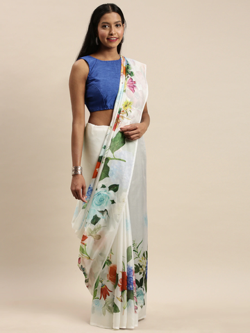 Vastranand | VASTRANAND White & Green Pure Silk Floral Printed Saree