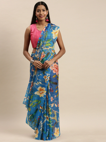 Vastranand | VASTRANAND Blue & Yellow Pure Silk Floral Printed Saree