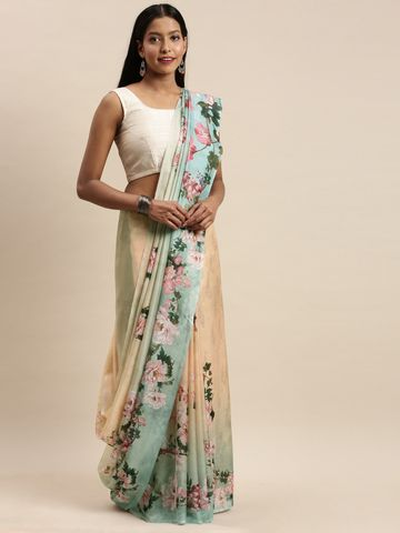 Vastranand | VASTRANAND Blue & Pink Pure Silk Floral Printed Saree