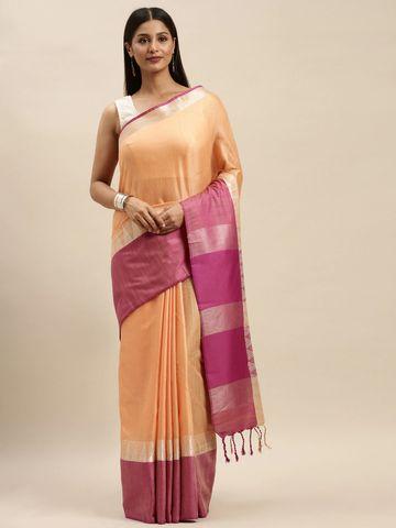Vastranand | VASTRANAND Orange & Pink Linen Blend Solid Banarasi Saree