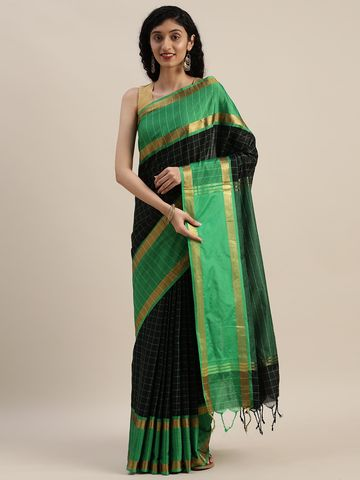 Vastranand | VASTRANAND  Black & Green Cotton Blend Checked Uppada Saree