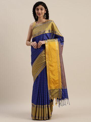 Vastranand | VASTRANAND  Navy Blue & Yellow Cotton Blend Checked Uppada Saree