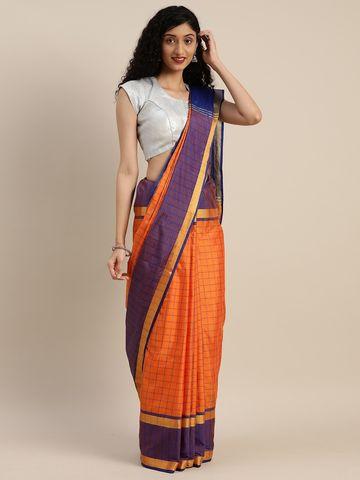 Vastranand | VASTRANAND  Orange & Purple Cotton Blend Checked Uppada Saree