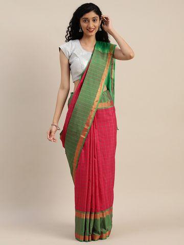 Vastranand | VASTRANAND  Pink & Green Cotton Blend Checked Uppada Saree