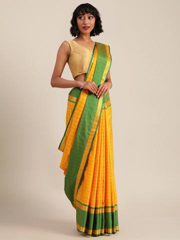 Vastranand | VASTRANAND  Yellow & Green Cotton Blend Checked Uppada Saree