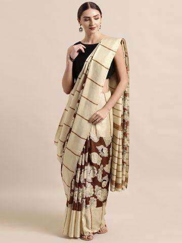 Vastranand | VASTRANAND  Cream-Coloured & Maroon Linen Blend Printed Others Saree