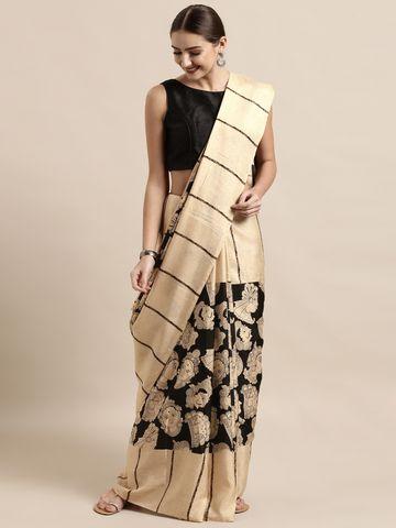 Vastranand | VASTRANAND  Cream-Coloured & Black Linen Blend Printed Others Saree
