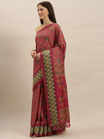 Vastranand | VASTRANAND  Pink Linen Blend Printed Pochampally Saree