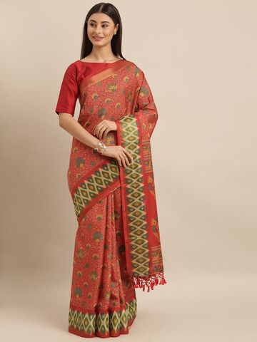 Vastranand | VASTRANAND  Red & Green Linen Blend Printed Pochampally Saree