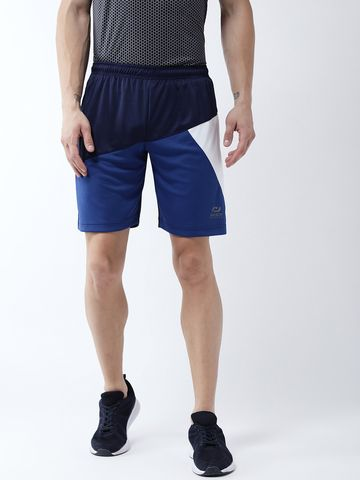 Masch Sports | Masch Sports Men's Gym Shorts Regular Fit Polyester (MSSH-0619-CS-3STRICLR-NBRBW_S_Navy, Royal Blue, White_S)