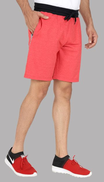 VEIRDO |  Regular Fit Cotton Red Shorts For Men