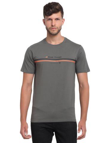 VENITIAN | Venitian Mens Round Neck Cotton Lycra Grey Printed Tshirt