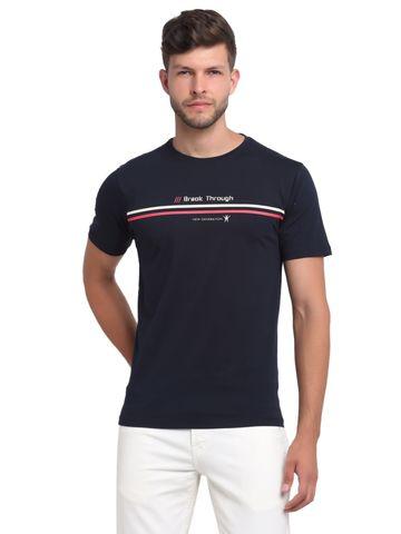 VENITIAN | Venitian Mens Round Neck Cotton Lycra Navy Printed Tshirt