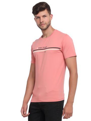 VENITIAN | Venitian Mens Round Neck Cotton Lycra Peach Printed Tshirt