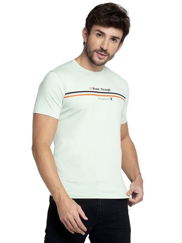 VENITIAN | Venitian Mens Round Neck Cotton Lycra S.Green Printed Tshirt