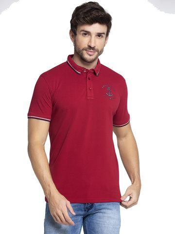 VENITIAN | Venitian Mens Solid Cotton Blend Red Tshirt
