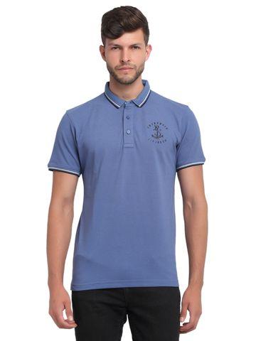 VENITIAN | Venitian Mens Solid Cotton Blend Blue Tshirt