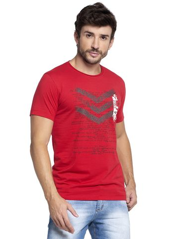 VENITIAN | Venitian Mens Cotton Round Neck Red Printed Tshirt