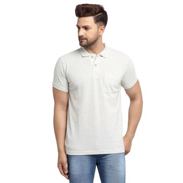 VENITIAN | Venitian Mens Solid Polo Neck Grey Solid Tshirt With Pocket