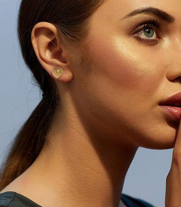 ZARIIN | Chunk of Nature Green Amethyst Earrings
