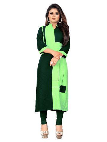 SATIMA | Women Green Straight Printed Rayon Kurti