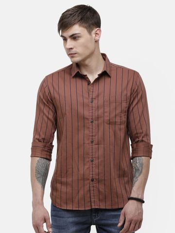 Voi Jeans | Brown Casual Shirt ( VOSHL455)