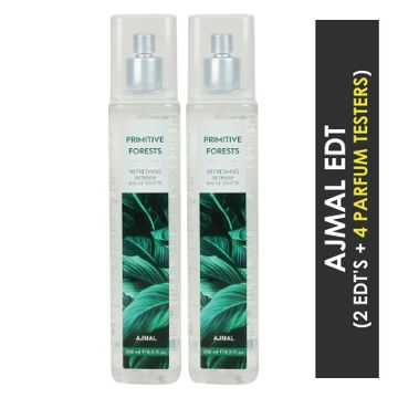 Ajmal | Ajmal Primitive Forests EDT  pack of 2 each 250ml (Total 500ML) for Unisex + 4 Parfum Testers