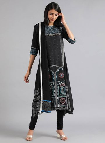 W | Wishful by W-Women Black Color Kurta