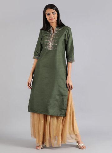 W   W Women Green Color Kurta
