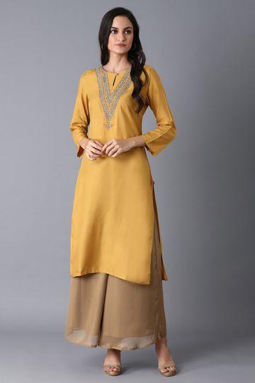 W | Yellow Straight Embroidered Kurta