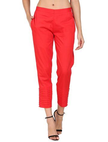 DEVS AND DIVAS | DEVS AND DIVAS Red Pintex Pant Trouser For Women