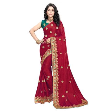 SATIMA | Designer Red Georgette Self-Design Embroidered Saree